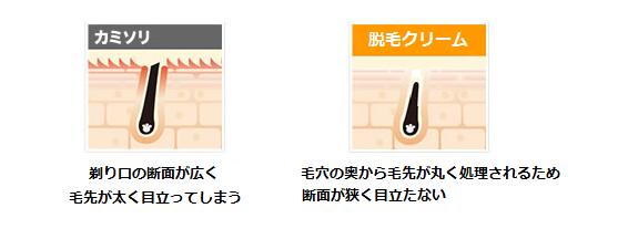 カミソリと除毛クリームの比較